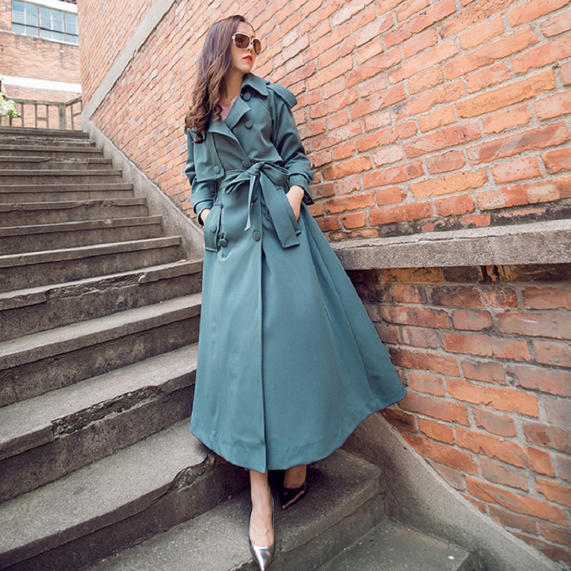 New Fashion 2019 Spring Casual Double breasted Simple Classic Long   Trench   coat with belt Chic Female windbreaker