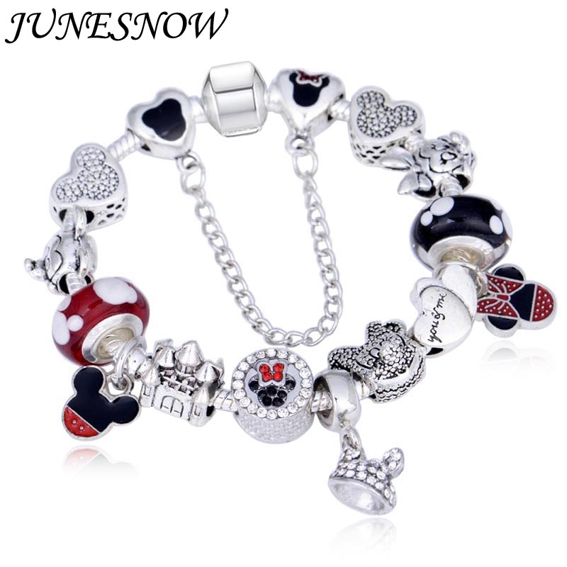 Charms Animal Mouse Crown Charm <font><b>Bracelets</b></font> For Women Fashion Original DIY Mickey Beads Fit <font><b>pan</b></font> <font><b>Bracelet</b></font> for women image