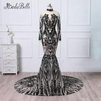 Modabelle יוקרה סקסי שחור שמלות ערב בת ים הנצנצים רכבת שמלות ערב עם שרוולים ארוך שמלות רשמיות 2018