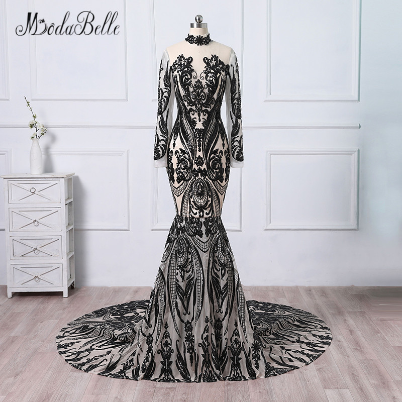 modabelle Luxury Sexy Black Evening Dresses Mermaid Sequined Long Train  Evening Gowns With Sleeves Formal Dresses 2018 e4d408b6e91a