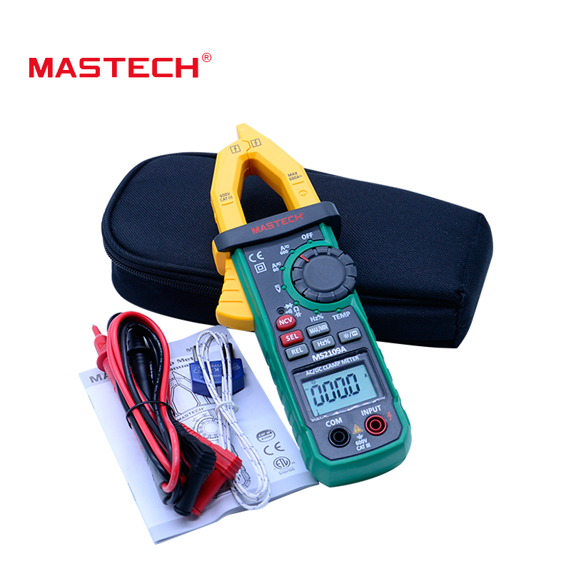 Mastech MS2109A Auto Range Digital AC DC Clamp Meter 600A Multimeter Volt Amp Ohm HZ Temp Capacitance Tester NCV Test голубая рубашка