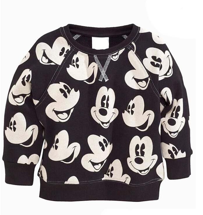 2017 Girls Boys Sweatshirts Terry Cotton Mickey Minnie Casual Sport Sweater For Children Hoodie Coats Autumn Kids Top Shirt