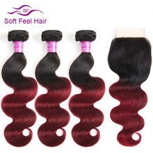 Soft Feel Hair Ombre Brazilian Body Wave 3/4 Bundles With Closure 1B/Burgundy Ombre Human Hair Bundles With Closure 99J Red Remy(China)
