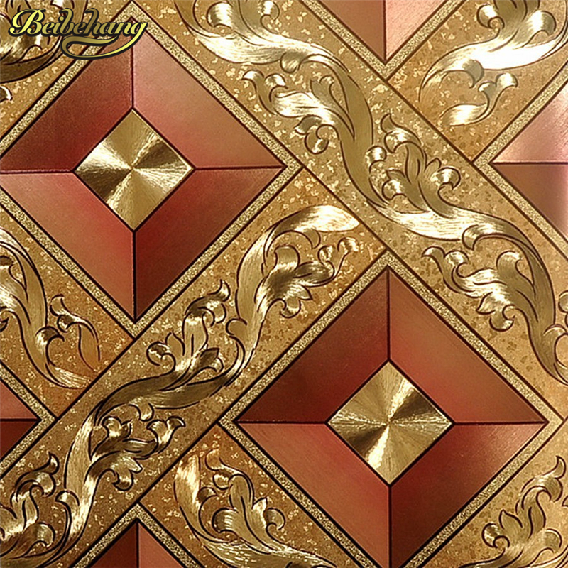 beibehang Classic Luxury wallpaper Roll Gold Foil Wallcovering Glitter Geometry PVC Wall paper For Public House KTV Wall Decor 090601 090603 luxury shiny 3d gold foil wallpapers pvc metallic wallpaper for livingroom abstract modern design wall paper roll