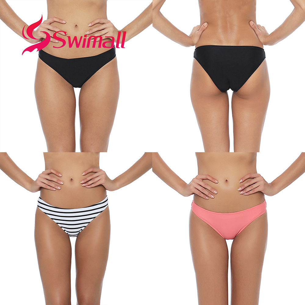 Sexy Bikini Bottom Women 2019 Solid Color Print Ladies Swimwear Low Waist Bathing Suit Thong Beach Swim Briefs Short B608