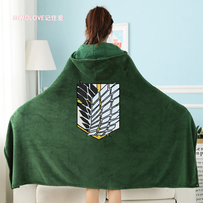 COSFANS Attack On Titan Blanket Cloak Shingeki No Kyojin Survey Corps Cloak Cape Flannel Cosplay Costume Hoodie With Real Photos