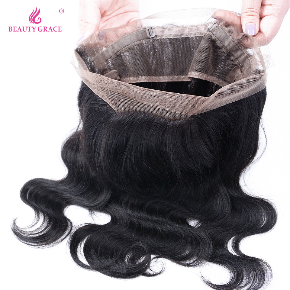 Beauty Grace Pre Plucked 360 Lace Frontal Closure With Baby Hair Brazilian Body Wave 22x4x2 Remy