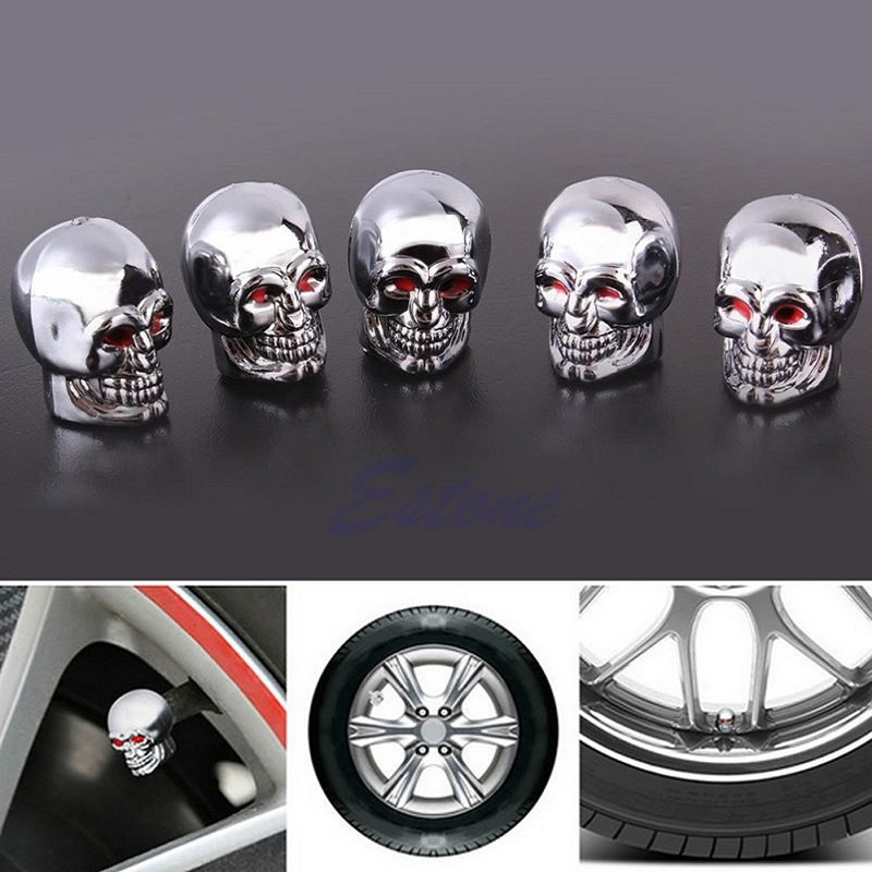 High Quality 5 Pcs Skull Tire Tyre Wheel Car Auto Valves Caps Dust Stem Cover Motocycle Bicycle Hot New Car Accessories