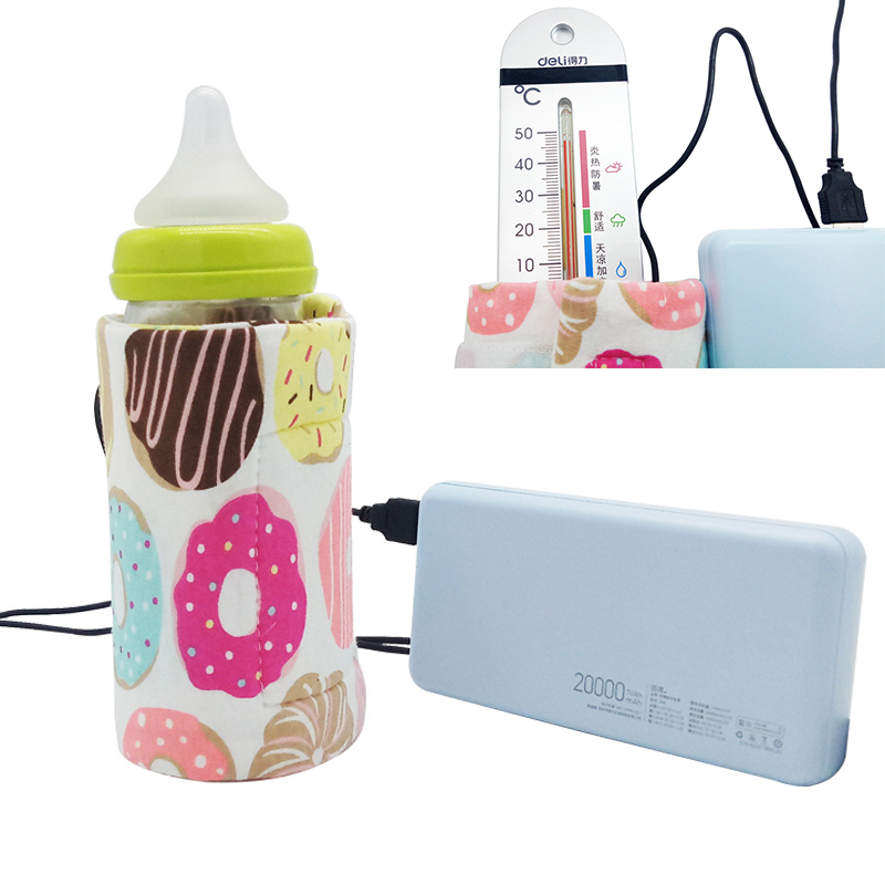 USB Charging Baby Bottle Warmer Portable Outdoor Infant Milk Feeding Bottle Heated Cover Baby Nursing Insulated Bag