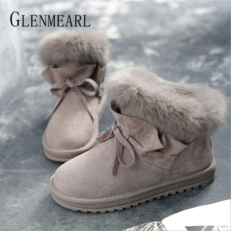 Women Boots Snow Ankle Winter Shoes Real Rabbit Fur Warm Plush Boot Female Casual Butterfly knot Lace up Round Toe Ladies Shoe