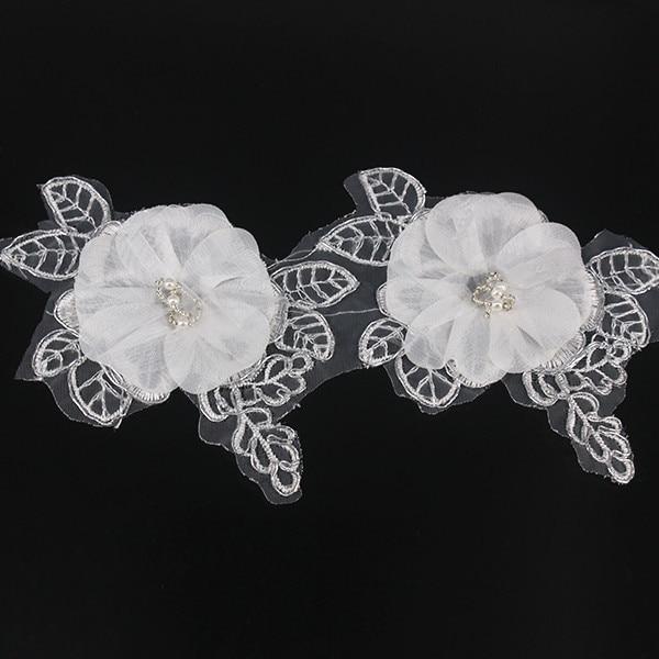 Garniture perlée argent métallique Applique garniture Satin fleur garniture Organza brodé fournitures de couture pour robe de mariée 10yd/T1278