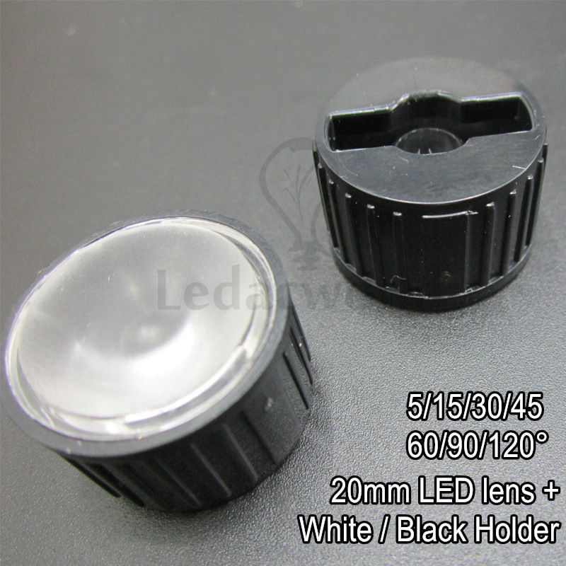 20x 20mm PMMA Optical LED lens Frost Surface + White/Black Bracket Angle 5 15 30 45 60 90 120 Degree For LED Bulbs DIY