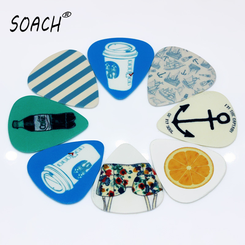 soach 10pcs 0 46mm guitar paddle blue background personality mixed pattern pvc double sided printing instrument accessories SOACH 10pcs 0.46mm guitar paddle blue background personality mixed pattern PVC double-sided printing  instrument accessories