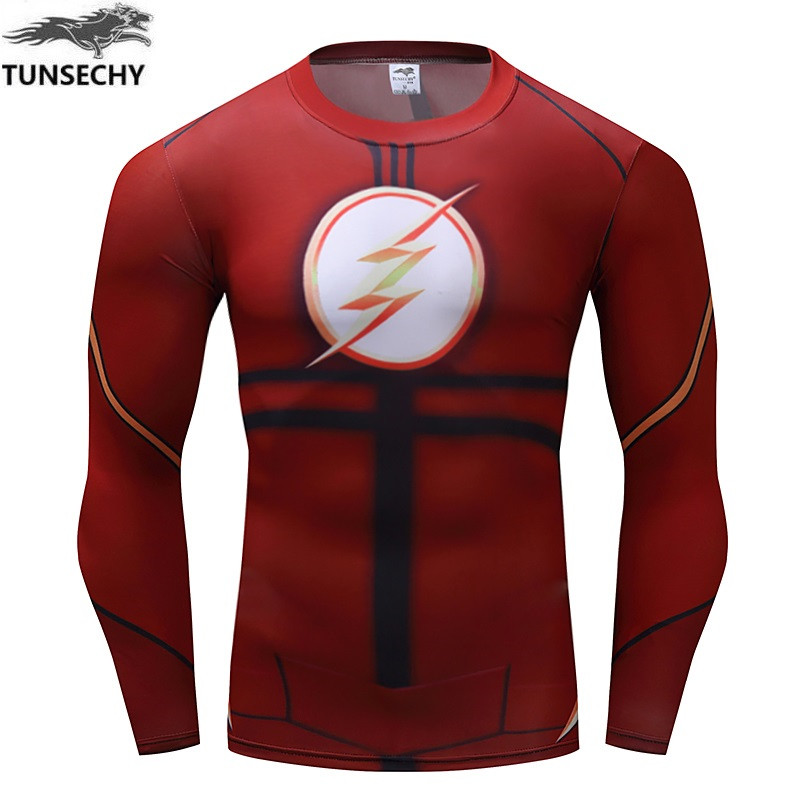 Fashion Brand men's round neck long sleeve tight T-shirts men's fashion fitness compressed T-shirts wholesale and retail