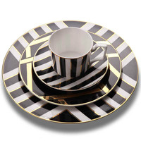 Gold Grid Porcelain Plates Food Dish Tableware Dining Tool Dinner Plates Snack Tray