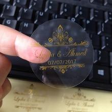 Autocollants personnalisés en or et argent, décoration de mariage vintage, étiquette transparente, cadeau, vente en gros, 500 pièces