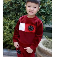 Boy suit autumn and winter new baby double velvet long sleeve two sets of children Europe and the United States cute casual chil