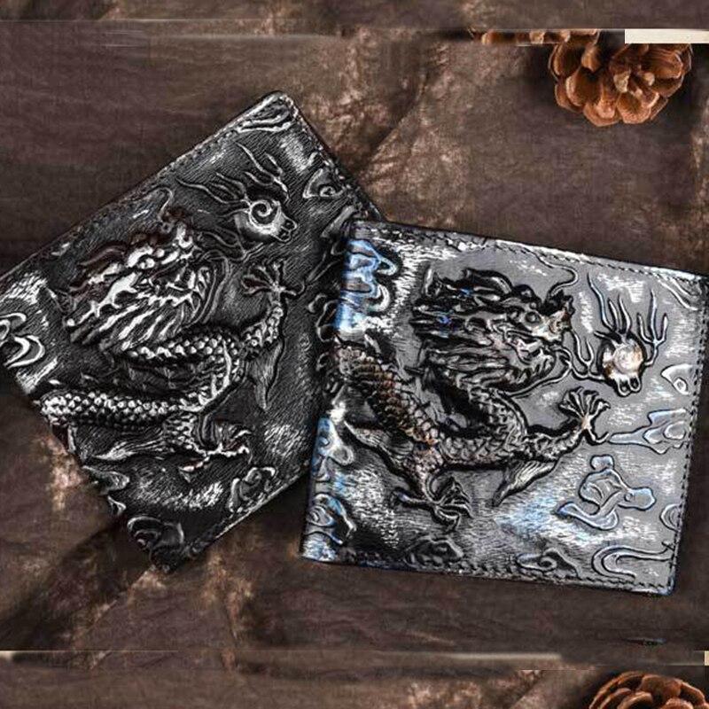 Natural Skin Wallet ID Credit Cards Holder Dragon Pattern Cash Clip Men Genuine Leather Money Bag Short Purse