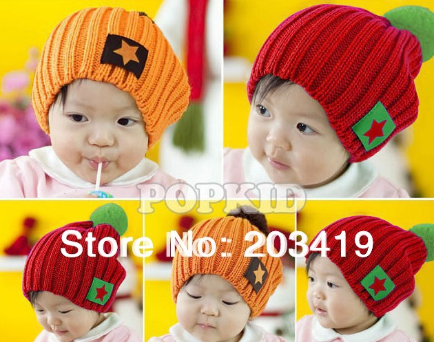 Gift mulit color option cute star children kids baby Knitting hat Warm Beanie Cap Autumn Spring Winter wholesale cn post whcn gift children knitting wool hat cute keep warm rabbit beanie cap autumn and winter hat with earflaps whcn