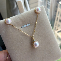 Women Gift word 925 Sterling silver real Akoya natural seawater pearl earrings round pearl pendant to suit