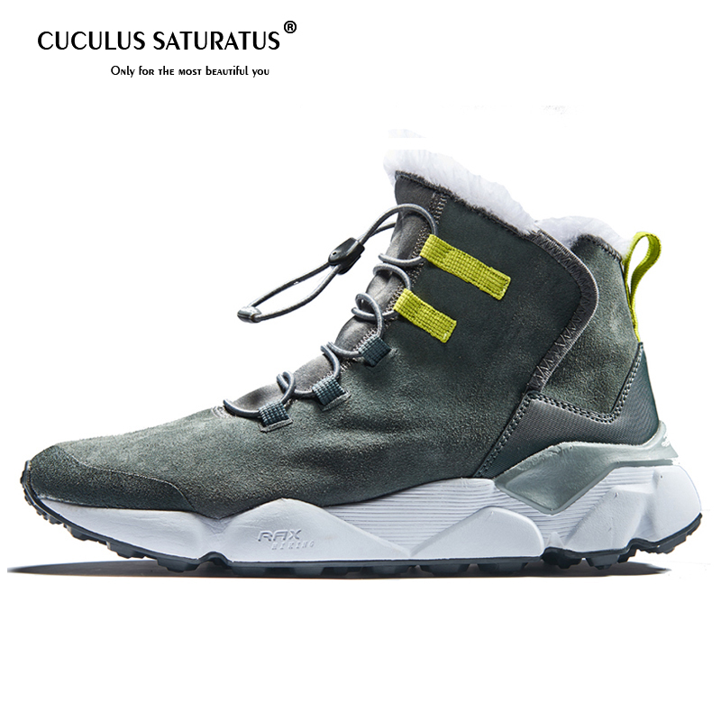 Cuculus Men Boots Winter With Fur 2019 Warm Snow Boots Men Winter Boots Work Shoes Men Footwear Fashion Rubber Ankle Shoes 39-46