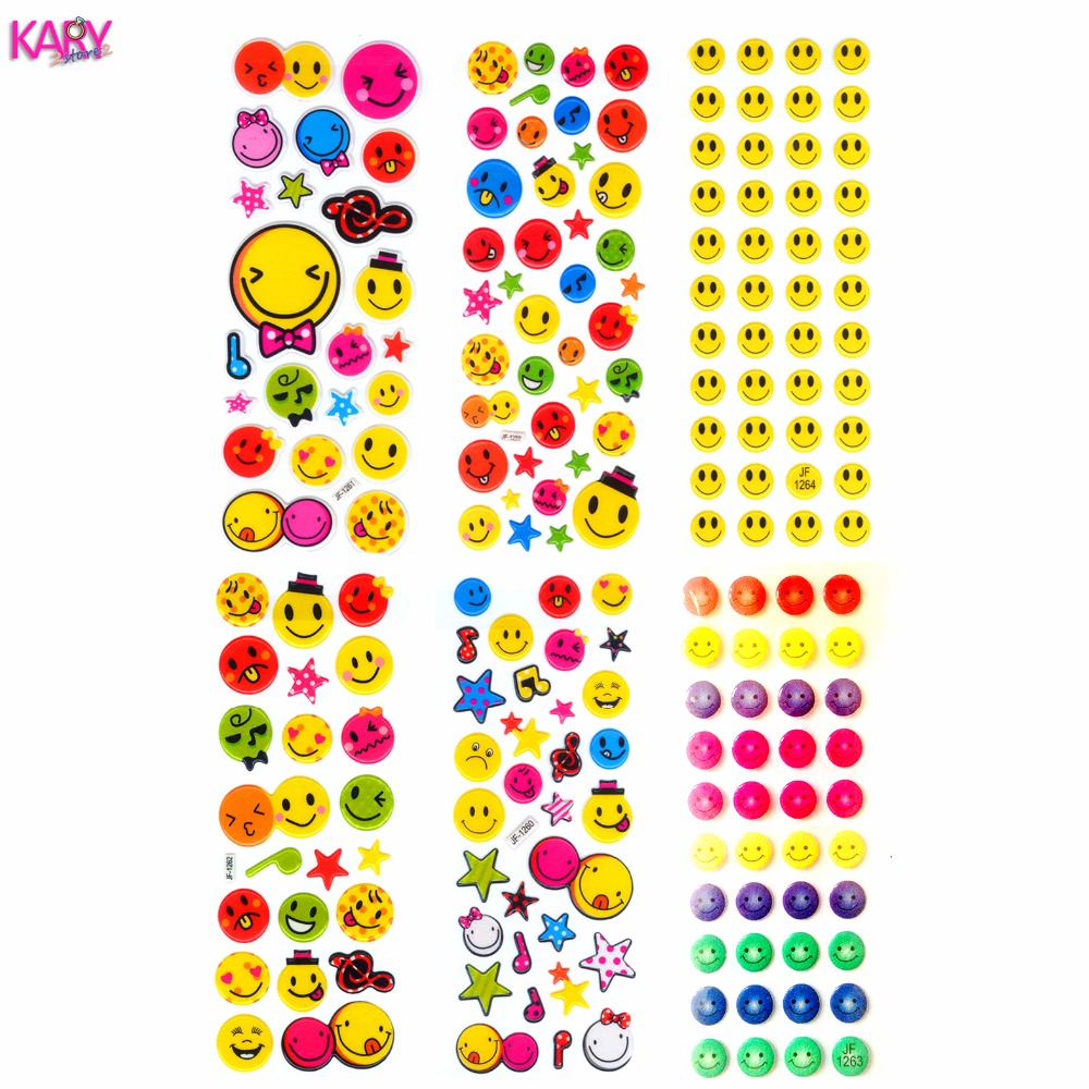 6 sheets smile face scrapbooking cute kawaii emoji teachers reward children toys bubble puffy stickers factory