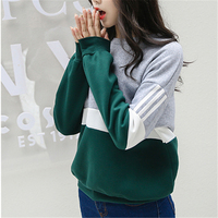 Autumn New Spell Color Stitching Harajuku Women Hoodies Pullover Fleece Loose Female Tracksuits Casual Round Neck