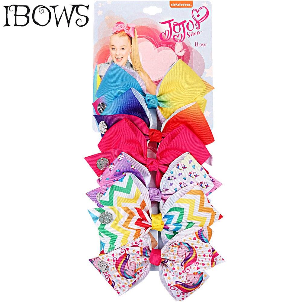 6Pcs/Set Rainbow Print Hair Bows Unicorn Polka Hair Clips For Girls Kids Handmade Hairpins Boutique Headwear Hair Accessories