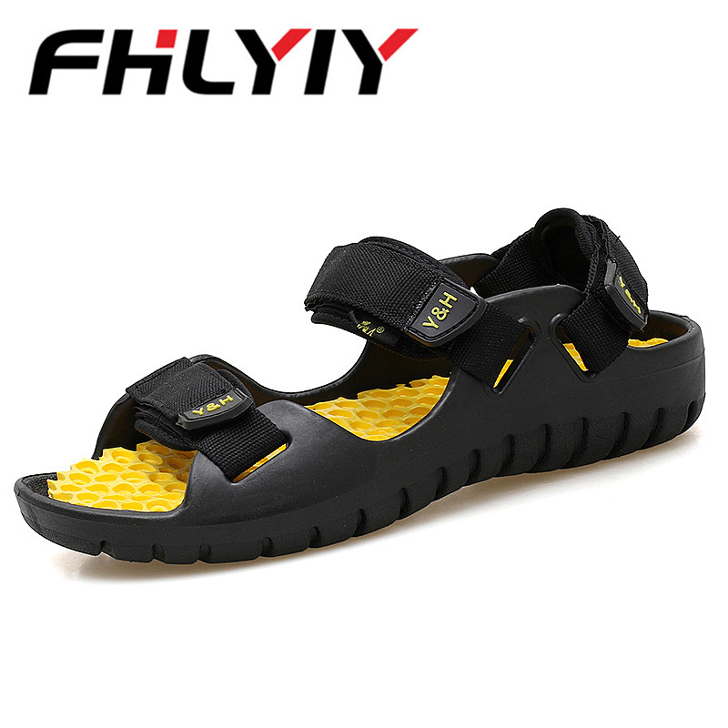 MenS Beach Flat Sandals New Design Fashion Hook & Loop Summer Footwear Black High Quality Men Casual Shoes Chaussures Hommes