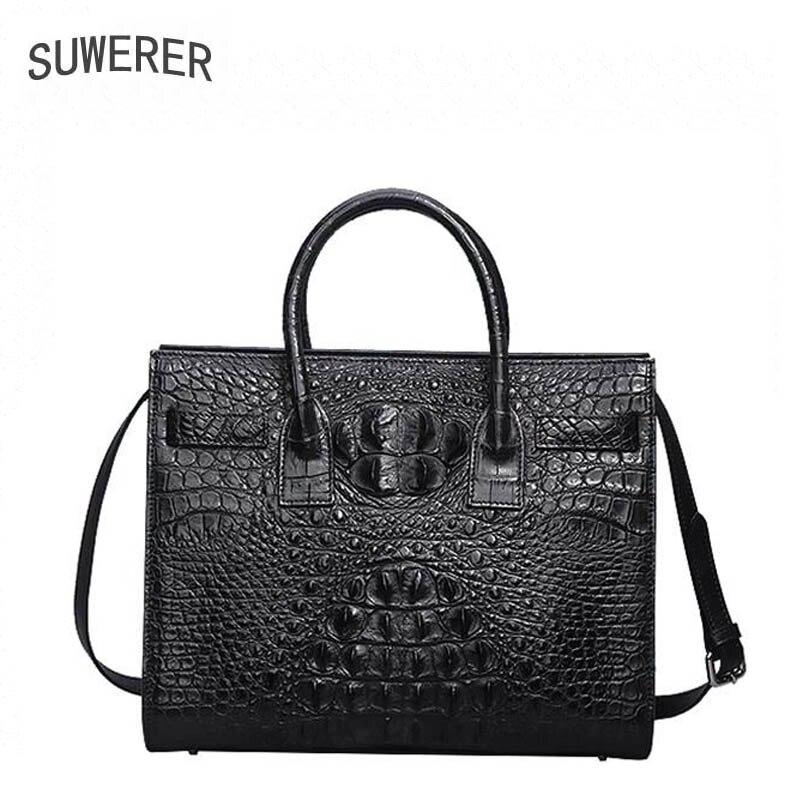 Luxus Krokodil brown Mode Handtaschen Frauen Muster Echtem Geprägt 2019 Marke black Leder Neue Tasche Red 5nxqqU68wz