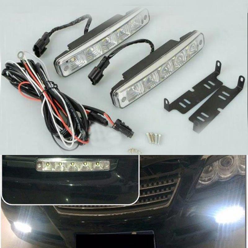 2pcs Universal 5LED Daytime Running Light DRL Car Fog Day Driving Lamp 10W High power DRL Head Lamp for Car Super White стоимость