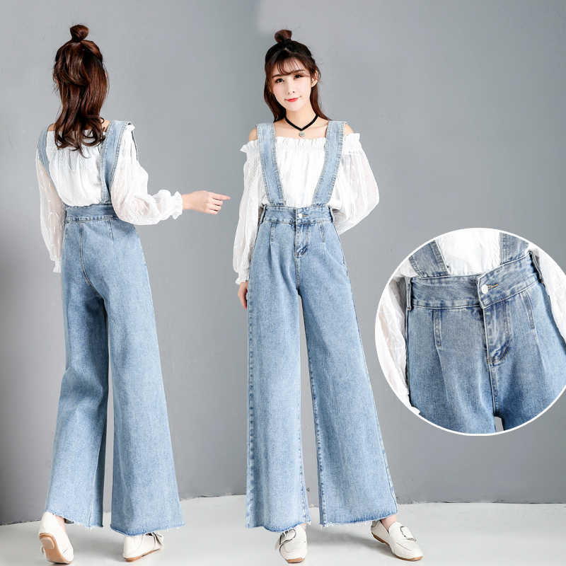 4a1a13b69084 High Waist Denim Wide Leg Female Harajuku Loose Large Size Nine Points  Jumpsuit Straight Pants Ripped
