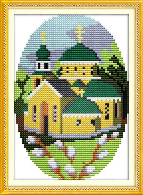 Four season cabin(1)spring home decor canvas Cross Stitch kits DMC 14ct white 11ct print embroidery DIY handmade needlework wall