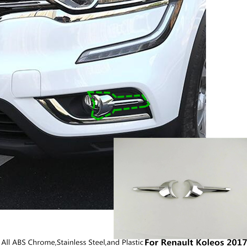 Hot sale Car styling body head front fog light lamp frame stick ABS Chrome cover trim 2pcs/set For Renault Koleos 2017 2018 2019