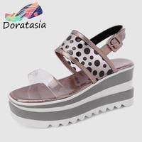 DORATASIA 2019 Brand New Polka Dot Ladies Wedges High Heels Platform Women Shoes Woman Casual Party Ol Summer Sandals