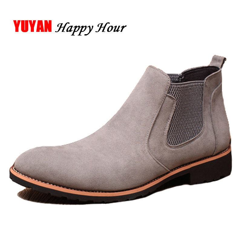 New 2018 Autumn Early Winter Shoes Men Chelsea Boots Suede Leather Shoes Fashion Men's Boots Male Brand Ankle Boots K077 koy k077