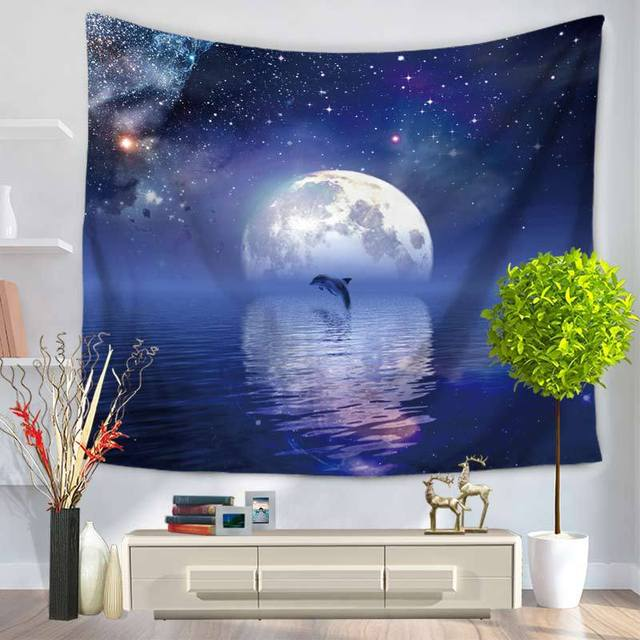 Polyester Tapestry Starry Sky Wall Blanket Decoration Tapestry Mandala Wall Hanging Multifunctional Home Decoration Tapiz Pared