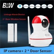 Системы видеонаблюдения Камеры ВИДЕОНАБЛЮДЕНИЯ Беспроводная Ip-камера + 2 Окна Двери Датчик Домашняя Сигнализация Ик-Камеры Безопасности Wi-Fi BW12R