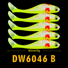 5pcs fishing lure 4.8g/8.8cm Soft Lure Japan Shad Worm Swimbaits Jig Head Fishing bait Silicon Rubber 4 color Fishing Tackle