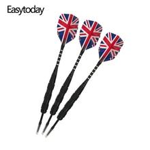 Easytoday 3Pcs/set Professional Darts Steel Tip Metal Barrel Shafts Aluminum Flights Set Entertainment Throwing Game