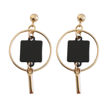 Europe and the United States fashion punk female metal earrings geometric round black square earrings wholesale ladies jewelry