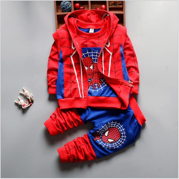New Autumn Spider Man Boys Clothes Sets Kids Children Spiderman Cosplay Sport Suit Boys Clothing Set T shirt +Jacket+Pants 3pcs