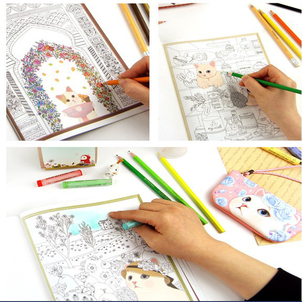 Aliexpress Buy 25X18CM 80pages40sheets Cute Cartoon Cat Coloring Book For Relieving Stress Kill Time Graffiti Painting Drawing From Reliable