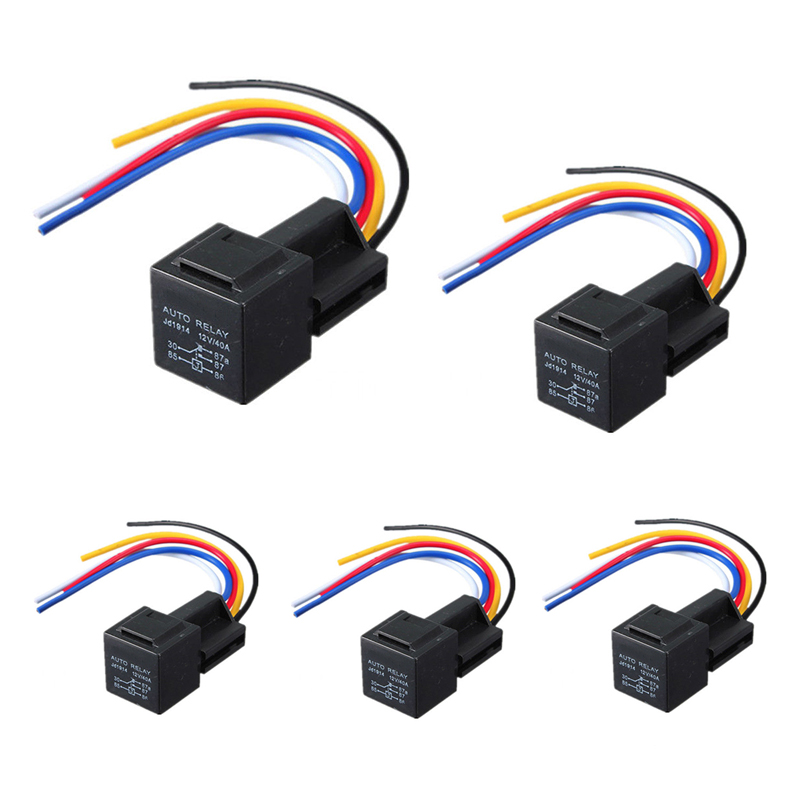 5pcs 12v 30 40 a amp car auto relay with wiring harness. Black Bedroom Furniture Sets. Home Design Ideas