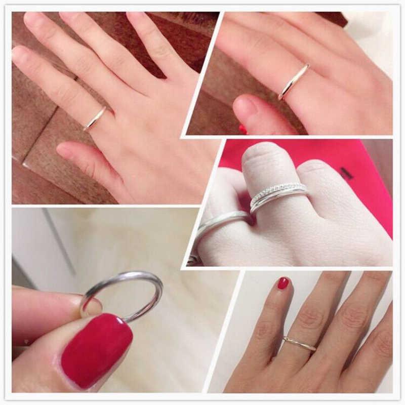 خاتم أنيق بسيط مكون من قطعة واحدة من BALMORA خواتم لمفصل الإصبع بطول متوسط الطول من الفضة الإسترليني عيار 100% للرجال والنساء مجوهرات للهدايا والحفلات