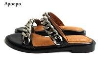 Apoepo 2018 Лидер продаж кожаные сандалии женские летние туфли с открытым носком серебряные цепочки украшения сандалии на плоской подошве в рим...