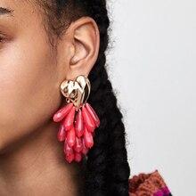 JUJIA New Trendy Earrings For Women Statement Heart Long Dan