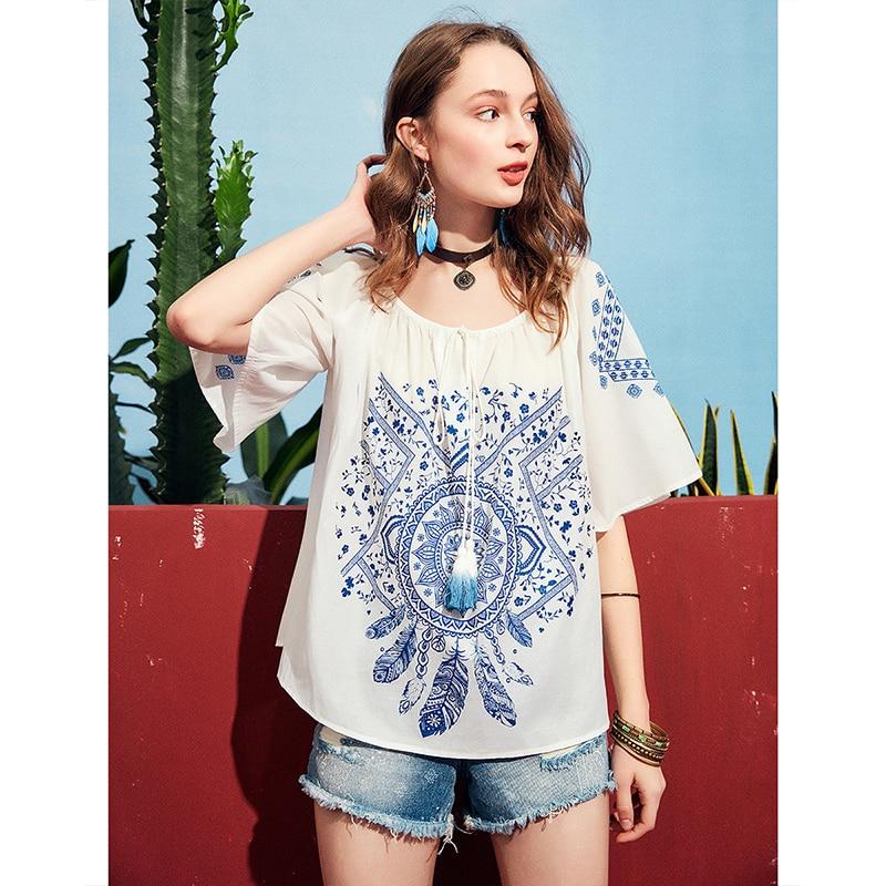 1554338f18c Tee Fleur T Lâche 2019 Coton En White shirt Sa10791x Manches Artka Bohème  Hauts Flare Femmes ...