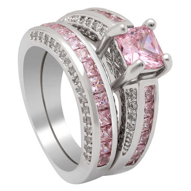 Top 2pc women silver plated wedding rings sets wholesale luxury top 2pc women silver plated wedding rings sets wholesale luxury purple pink engagement design paved cz junglespirit Gallery