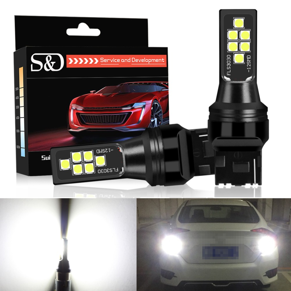 S&D T20 W21W 7440 LED Car Light Bulbs <font><b>12</b></font> <font><b>SMD</b></font> 3030 Chips Tail Brake Reverse Lights White Red Yellow Auto Lamp 12V image